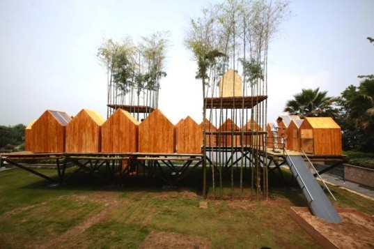 city in sky, china, wuhan, bamboo, bamboo building workshop, children's building workshop in china, living architecture, live bamboo as a construction material, green design, sustainable design, eco design