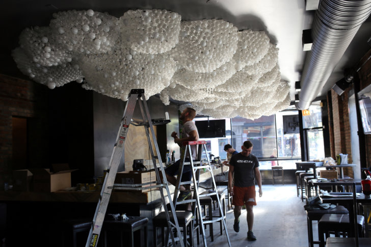 Cloud Ceiling An Interactive Upcycled Bulb Installation