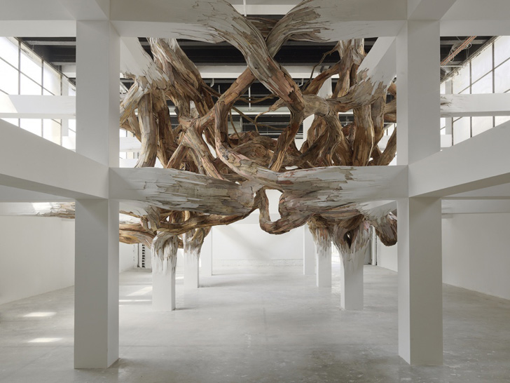 Henrique oliveira 39 s parasitic structures made from for Salvaged building materials los angeles