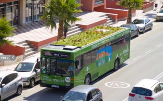 bescano, girona, green bus roof, green roof on bus, green space as air purifier, green space in cities, lightweight hydroponic foam, marc graben, photo kinetic, spain
