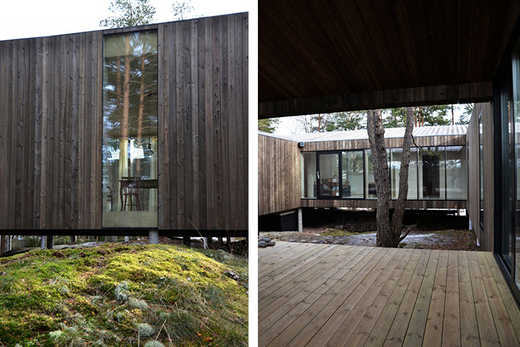 Beautiful wooden home in norway is built around forest for Norway wooden houses