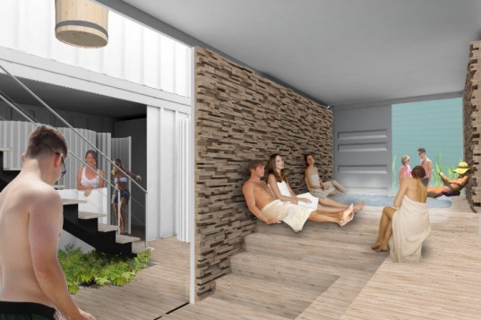 SOAK Spa, shipping container spa, rainwater collection, solar power, pop-up spa, Rebar Art and Design