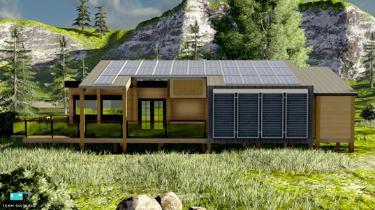 Ontario 39 s echo net zero prefab home combines passivhaus for Solar powered home designs