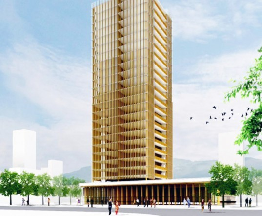 high rise building construction, mid-rise building construction, concrete and steel buildings, wood buildings, michael green, michael green architecture, the case for tall wood buildings, laminated heavy timber, structural wood, finding the forest through the trees, mass timber panels, wood building makes lighter carbon footprint