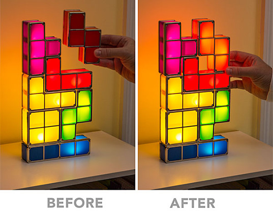 Think Geek, Tetris, Think Geek Tetris Lamp, LED lamp, Think Geek LED lamp, Tetris stackable lamp, stackable lamp, stackable LED lamp, LED light, tetris light, Tetris LED stackable desk lamp, Tetris LED stackable lamp, Tetris LED stackable light