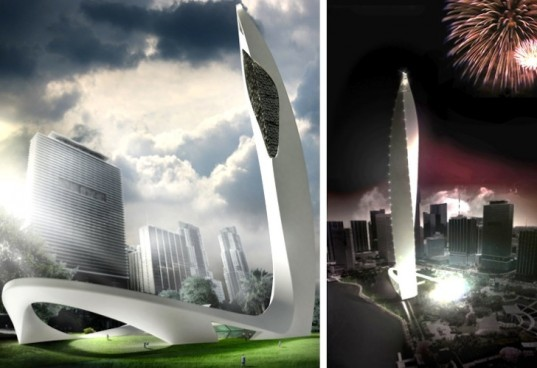 Avis Magica, Ararada Design, architecture, miami, DawnTown, energy generating feathers, aquarium towers, 120 meter tall aquarium, energy-generating towers, Miami architecture competition, design competitions, design, sustainable design, eco-design