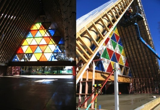 Christchurch cardboard cathedral, shigeru ban, disaster relief, cardboard architecture, temporary design, japanese architects, sustainable design, eco-design, green design, church made from cardboard, cathedral made from cardboard, New Zealand cardboard Church
