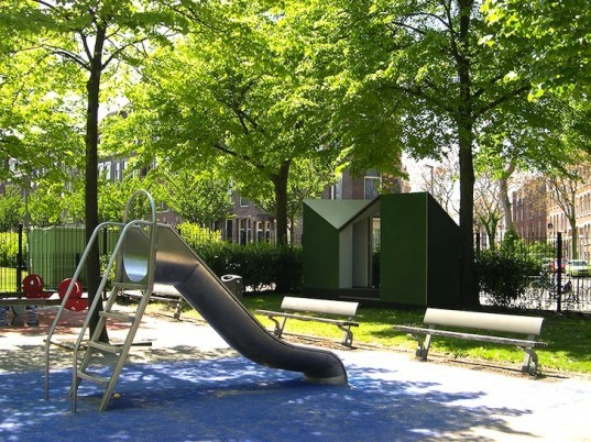 LAGADO Architects, popup toilet, outdoor toilet, outhouse with a view, green design, temporary design, urban design, the netherlands, dutch design, sustainable design, eco-design, public toilets, modern outdoor toilets, Rotterdam, Heemraadssingel Park