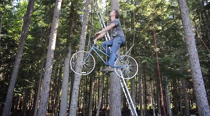 Designer Transforms Old Bike Into Pedal Powered Elevator