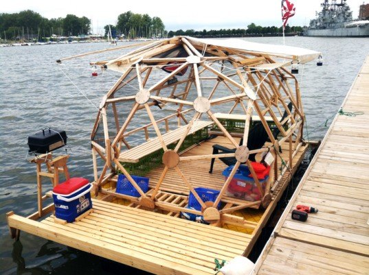 affordable house boat, bucky houseboat, eco design, floating home, geodesic houseboat, green design, Michael Weekes, michael weekes houseboat, Pride of Buffalo, sustainable design, tiny home