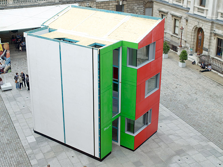 Richard rogers 39 prefab homeshell built in just 24 hours in london 39 s royal academy courtyard - Houses built inhours ...