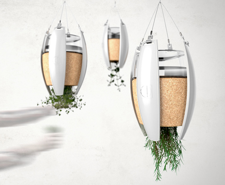 LivingLight: Hanging Garden OLED Pendant Lights Are Powered by the Soil They Contain