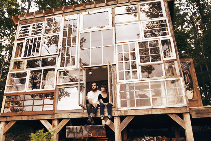 Couple Leave Their Jobs to Build a Recycled Windows Love Nest