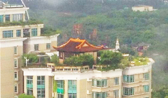 bizarre chinese temple discovered atop a 21 storey luxury apartment