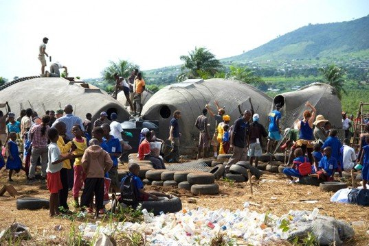 Earthship Biotecture, Malawi, Disaster Relief, Humanitarian design, recycled materials, earth architecture, green design, sustainable design, eco-design, solar power, Empower Malawi, Malawi community center, rainwater capture, thermal cooling, greenhouse technology, earthship design Africa