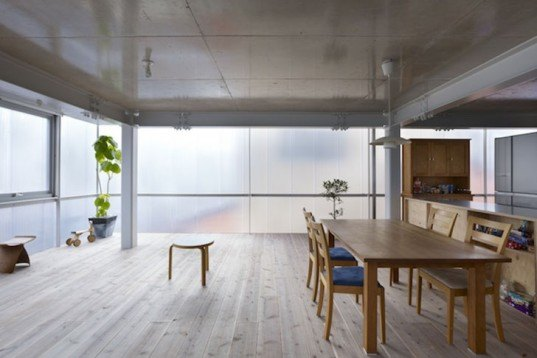 Suppose Design Office, translucent, Hiroshima, japan, polycarbonate, Daylighting, Architecture, green Interiors, energy efficiency, House in Tousuienn