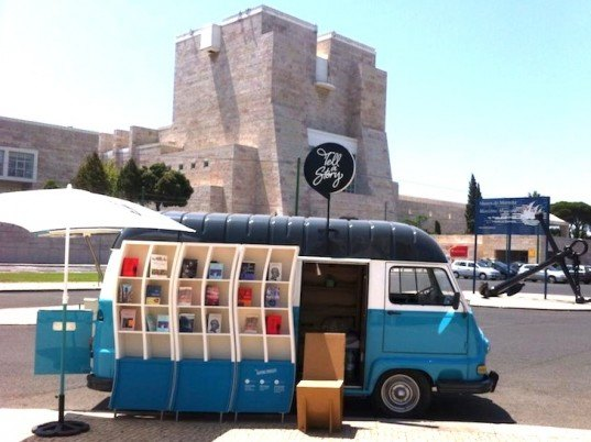 tell a story, nomadic lifestyle, portuguese bookstore, mobile bookstore in lisbon, recycled materials, adaptive reuse, geren design, sustainable design, eco-design, van converted into mini bookstore