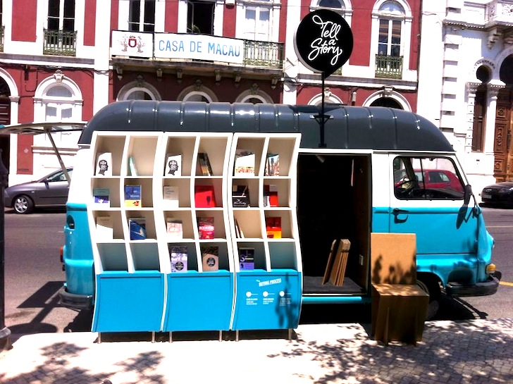0f4d0f33e0f480 Beautiful Blue Tell a Story Book Van Takes Literature to the Streets of  Lisbon