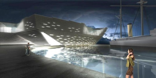 Kengo Kuma Architects, V&A Dundee, Scotland, Japanese architecture, sustainable design, eco-design, design centers in Scotland, waterfront buildings in Scotland, Craig Harbor, Dundee, natural light, natural ventilation, urban planning