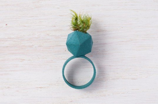 green design, eco design, sustainable design, Wearable Planters, Planter Rings, mini terrariums, wearable terrarium, 3d printed jewelry