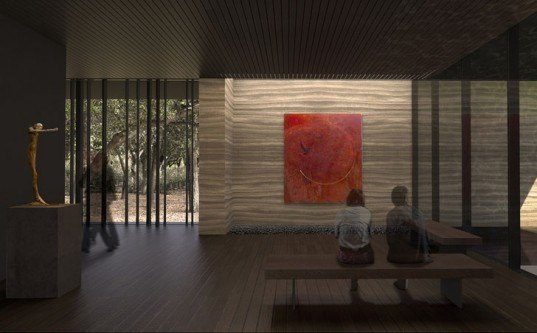 Windhover Contemplative Center, Stanford University, Nathan Oliveira, rammed earth, meditation center