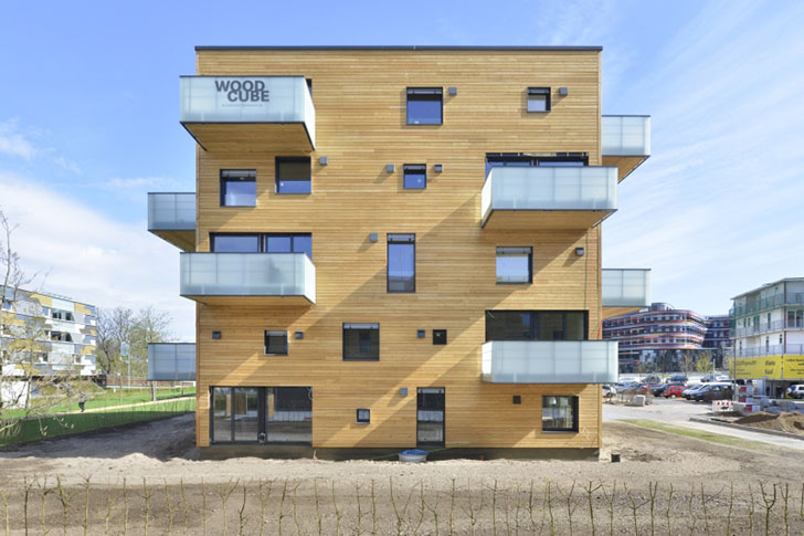 Woodcube in hamburg inhabitat green design innovation architecture green building - Wooden cube house plans ...