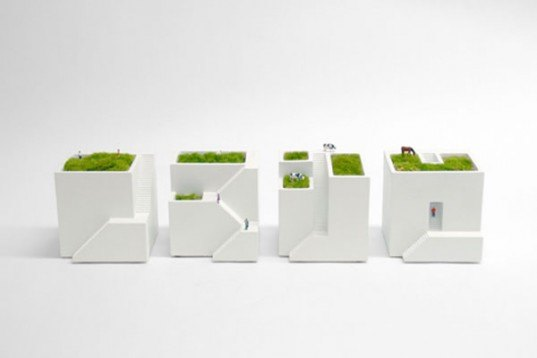 ienami bonkei planter, chiaki murata, metaphys, modular planter, desktop accessory, japan