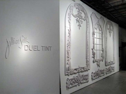 jillian salik, cardboard, white, frames, baroque, adornment, gallery, art