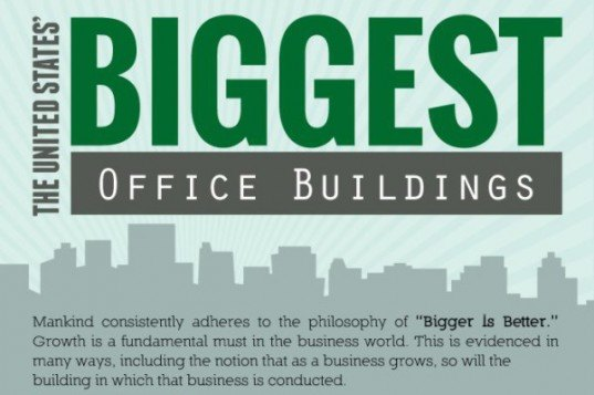 united states, greenest buildings, biggest office buildings, infographic, green building, sustainable building, sustainable design, green architecture, energy-efficiency, energy-efficient skyscrapers