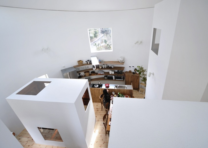 white home studio tiny cylindrical house in chiharada rises like a fairytale tower