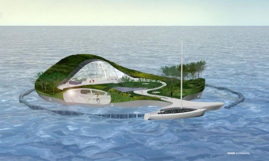Self-Sufficient island, RE:Villa, Floating Villa, Coastal Pollution, floating architecture, floating buildings, recycled Building Materials, Floating Island