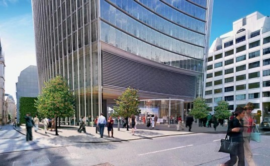 rafael vinoly, walkie talkie, walkie scorchie, concave building producing sun glare, death ray building, value engineering sun louvres, singeing carpets building glare, melting paint, melting car parts, harnessing concentrated glare for power, solar power tower
