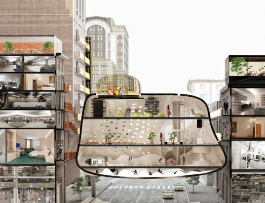 green design, eco design, sustainable design, parasite architecture, ZA Architects, Heart of the District, pop up hotel, hanging architecture