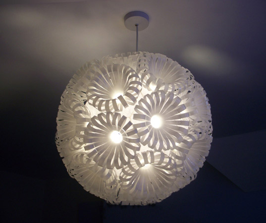 Sarah Turner's Repurposed Plastic Bottle Lamps Illuminate the Beauty of Upcycled Materials