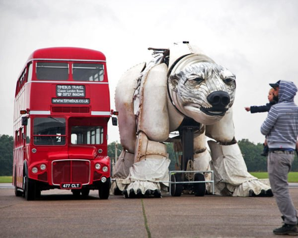 aurora, greenpeace, puppet, marionette, climate action, arctic drilling, protest, shell, london, double-decker bus, world's largest polar bear