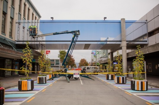 New Zealand, Christchurch earthquake, mike hewson, demolition walkway, adhesive vinyl, digital print installation, perspective installation, invisible walkway, weightless walkway, art installation, Colombo street