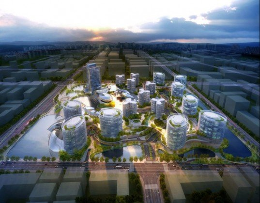 Jinshui Science and Technology Park, GDS Architects, zero carbon, energy efficiency, green design, eco design, self sufficient buildings, green architecture, eco architecture, china, solar panels, photovoltaic panels
