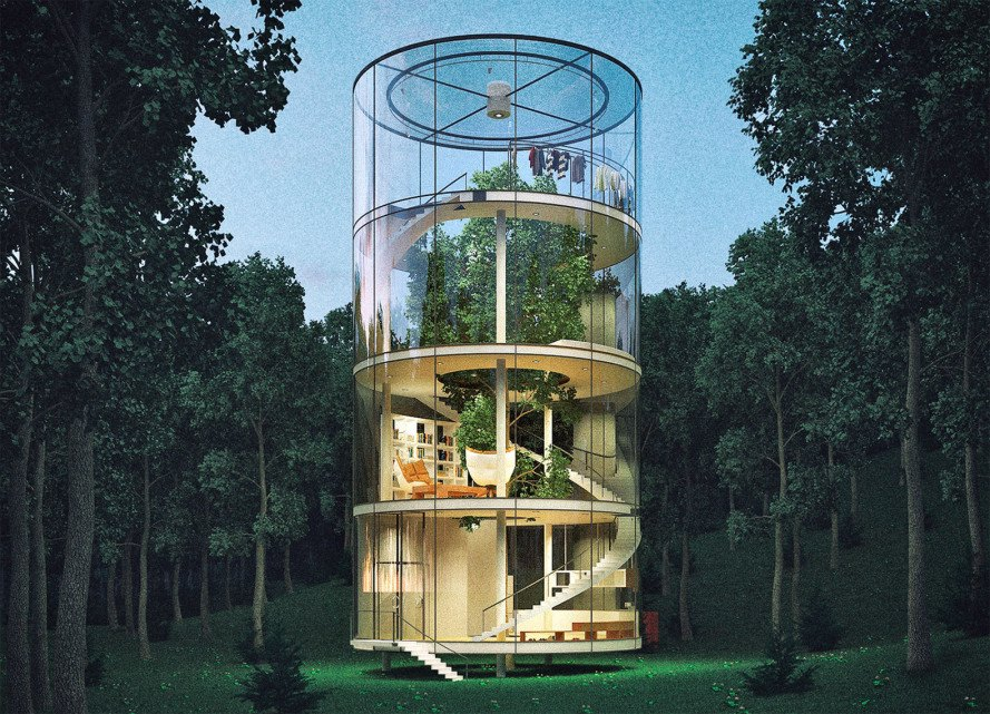 A Gigantic Tree Lives Inside This Gorgeous Glass House In The
