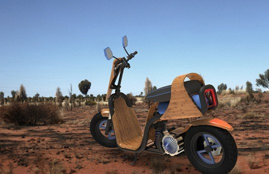 EngineAir Australia, compressed air powered rotary engine, concept scooter, Darby Bicheno, RMIT University in Melbourne, eco dirtbike, Steam-pressed bamboo, bamboo bike