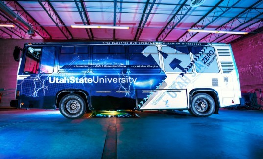 utah state university, wireless charging, wireless induction technology, aggie bus, electric bus, e-bus, usu research foundation, USU's Wireless Power Transfer, Utah Science Technology and Research initiative's Advanced Transportation Institute