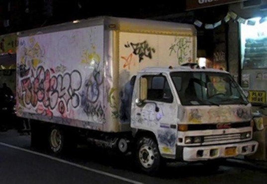 Banksy transforms an old delivery truck into a mobile for Waterfall delivery
