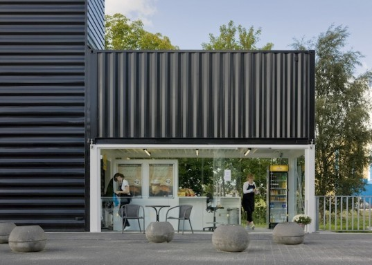 NL Architects, Barneveld Noord, Prorail, Barneveld Noord Station, Bike shop, shipping containers, container architecture, netherlands, train station, modern tran station, dutch railway network, prettig wachten, multipurpose space, multifunctional space,