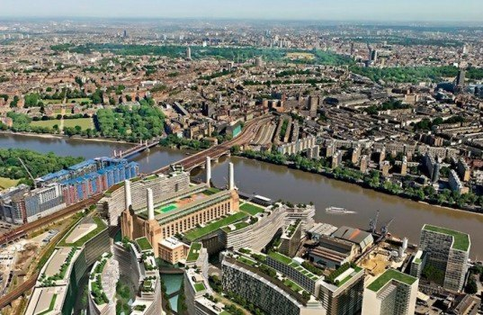 gehry partners, foster & partners, frank gehry, london, battersea power station, mixed use development, pink floyd, the beatles, rafael Viñoly, river thames