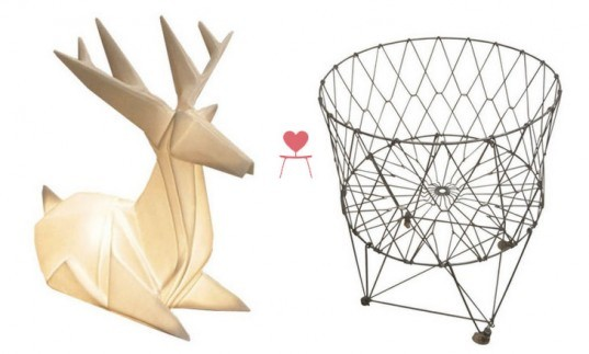 Inhabitat's Clean Green Collection For Chairish, Deer Origami Lamp, Wire Frame Wastebasket