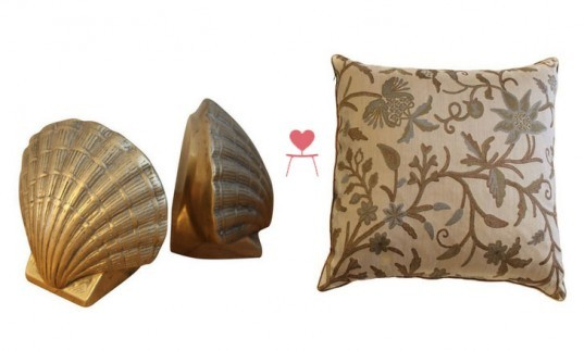 Inhabitat's Clean Green Collection For Chairish, Brass Sea Shell Bookends, Brocade Pillows