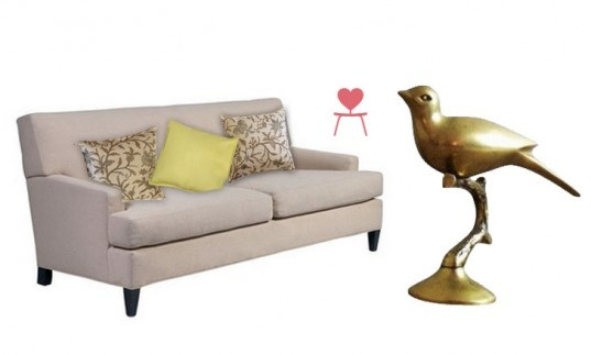 Inhabitat's Clean Green Collection For Chairish, Sofa + Pillows and Brass Bird