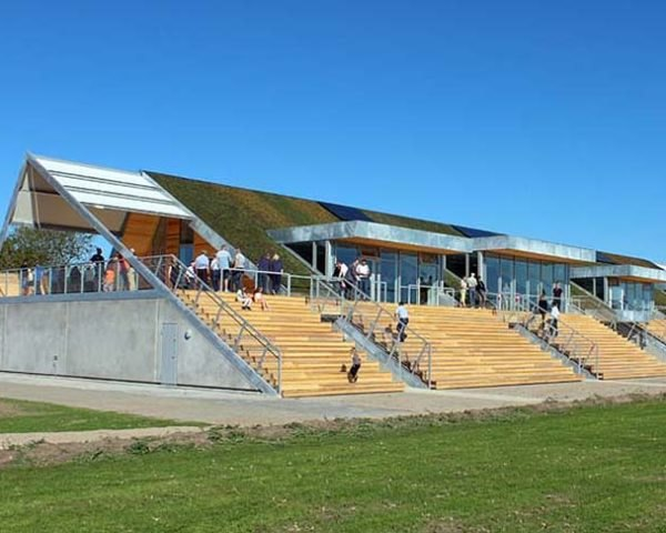Christensen & co, A-framed, energy efficient, Allerød Clubhouse, green roof, Denmark, football matches, sports, socializing design, solar panels, Architecture, Daylighting, green roof, energy efficiency,