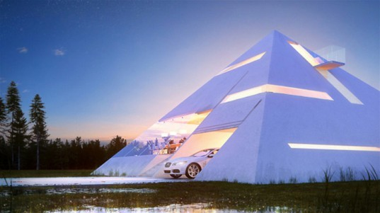 Pyramid House, Juan Carlos Ramos, mexican architects, pyramid-shaped architecture, residential architecture, futuristic single-family housing, geometric shapes in architecture, architectural competition, Egypt pyramids, 3d software, architectural visualizations