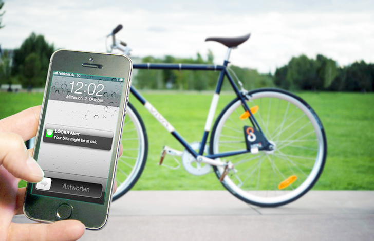 950f5ee9466 Keyless Lock8 Bicycle Lock Sends Theft Alerts to Your Smartphone