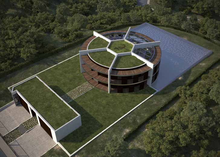 Architect Designs a Soccer Ball-Shaped House for Famous ... on art eye view, balloons eye view, 1 point perspective worms eye view, worm's eye view, point of view, nature eye view, buildings eye view, birds of the smithsonian national zoo, frogs eye view,